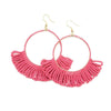 hot pink fringe hoop seed bead earrings