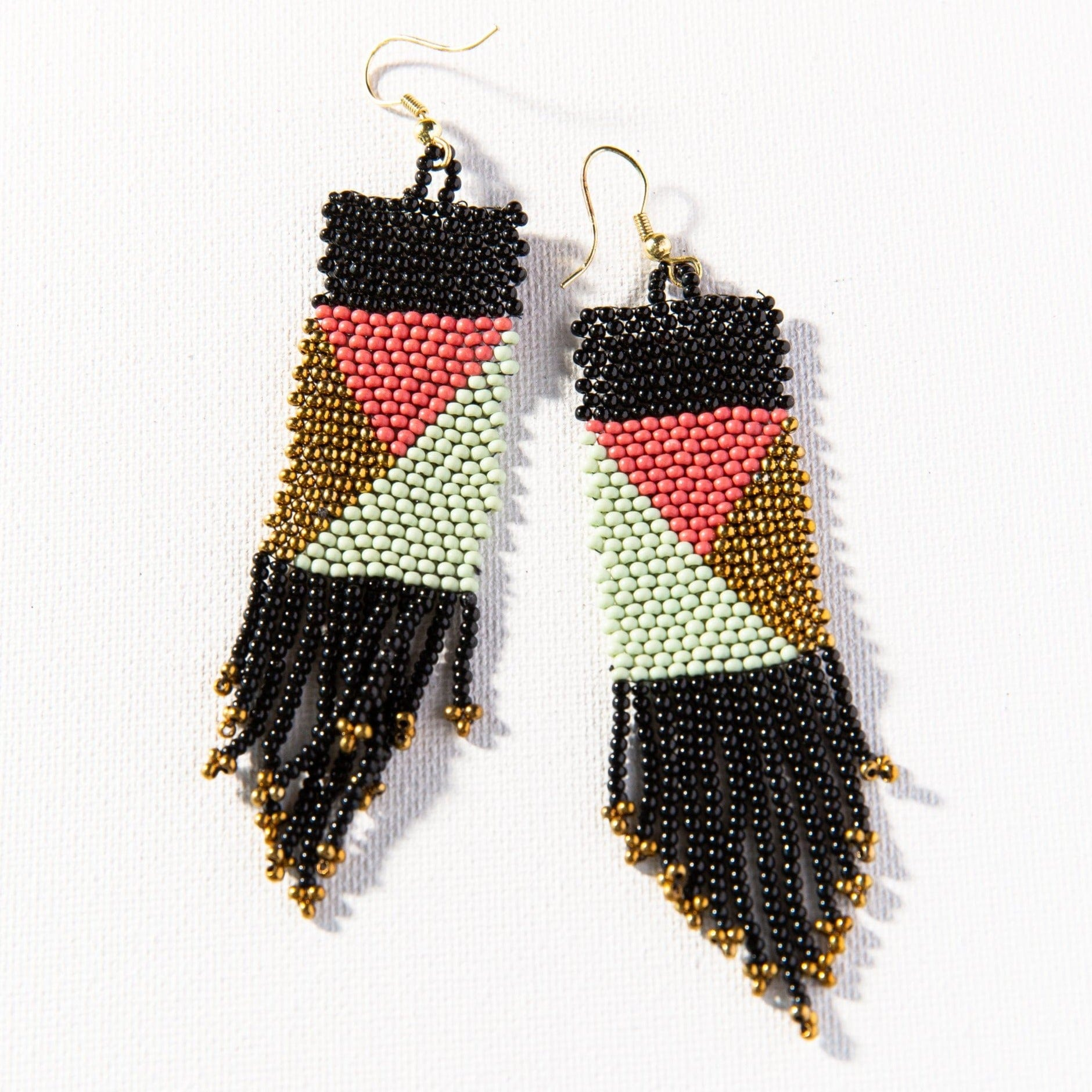 Black Terra Cotta Mint + Gold Geo Pattern Seed Bead Earring