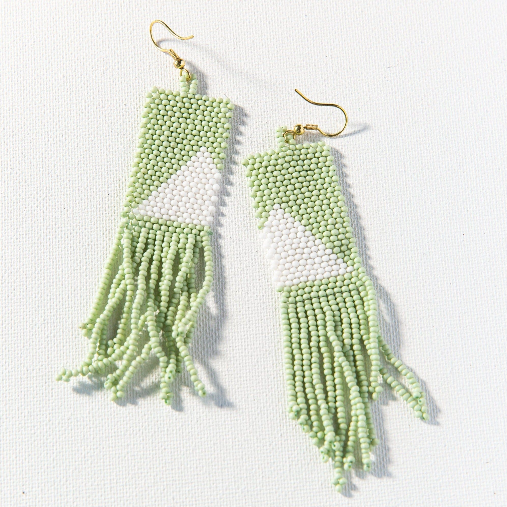 mint with white triangle fringe earring 4""