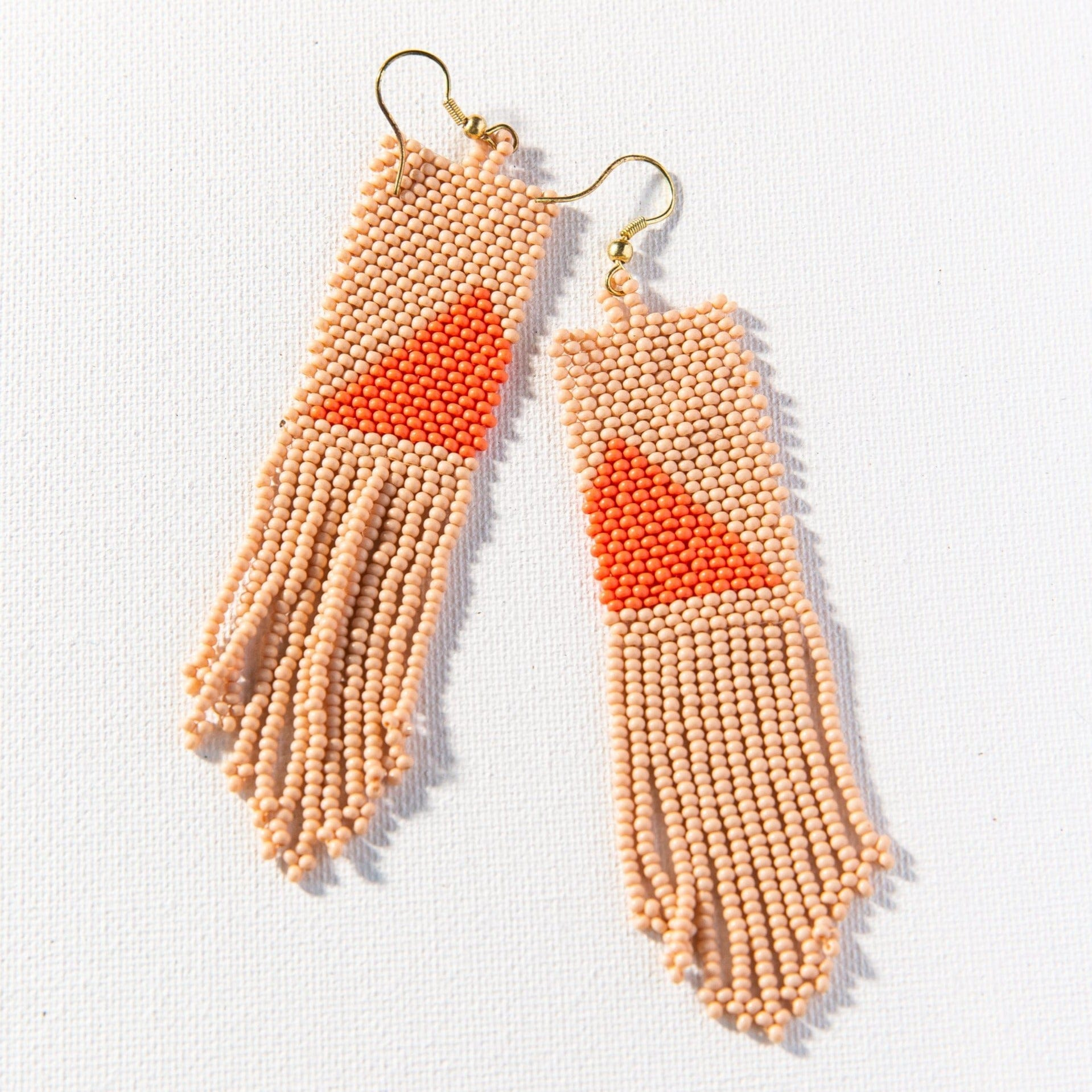 Pink + Orange Triangle Seed Bead Earring