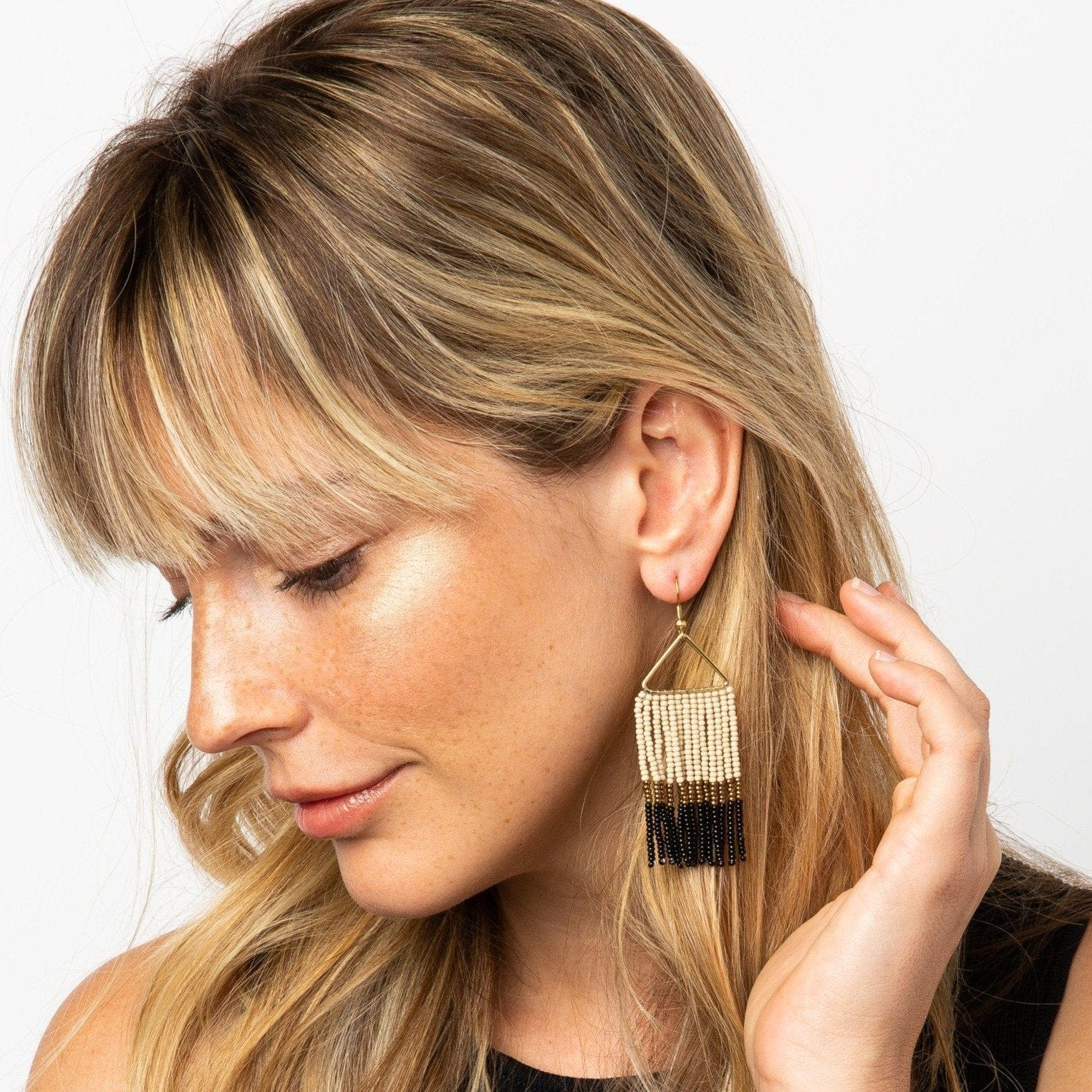 Black Gold Ivory Fringe Earring