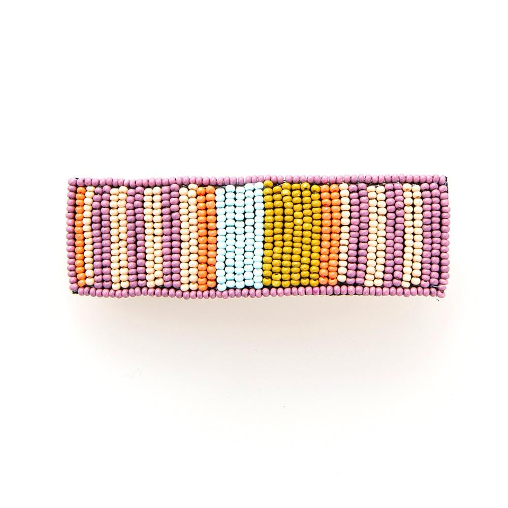 Lilac + Coral Beaded Stripe Hair Barrette
