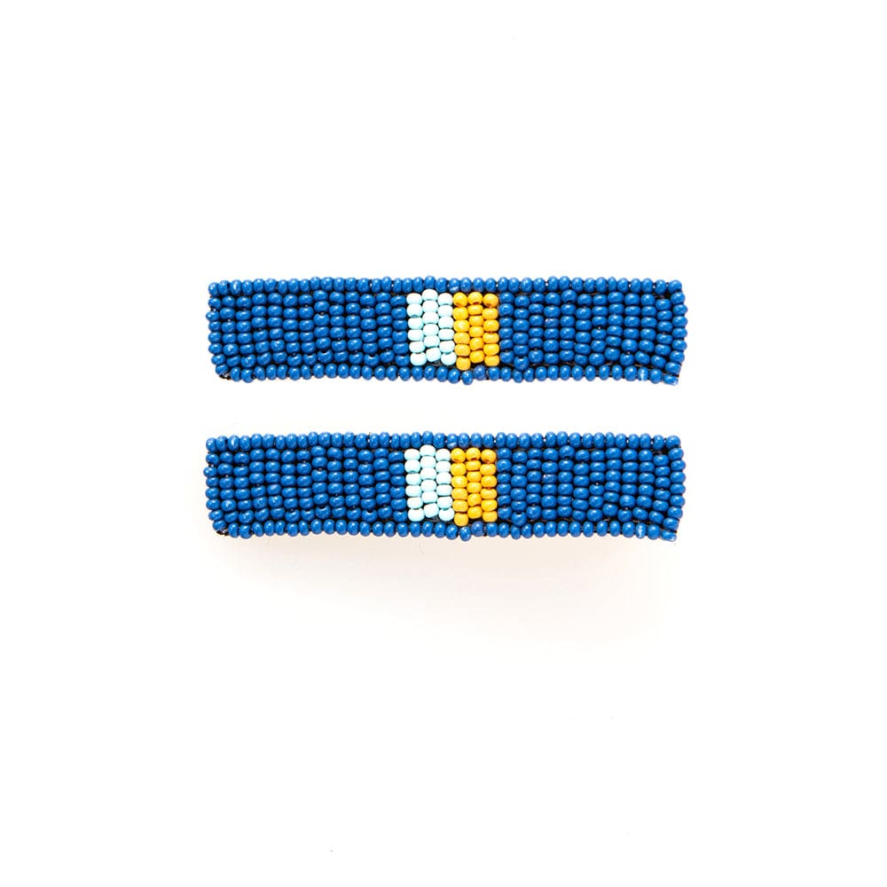 "lapis light blue yellow beaded hair clip 2.25""- 2 pack"