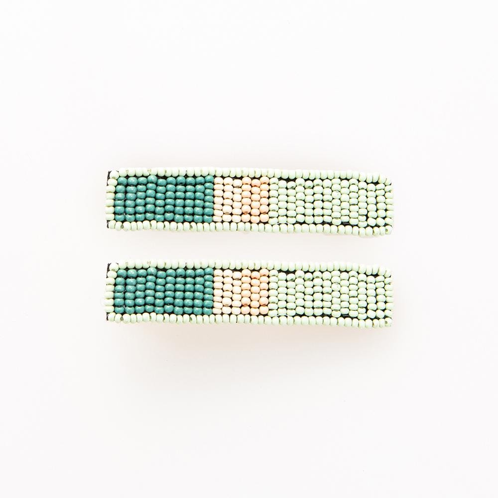 Mint Teal + Lilac Beaded Hair Clip - 2 pack