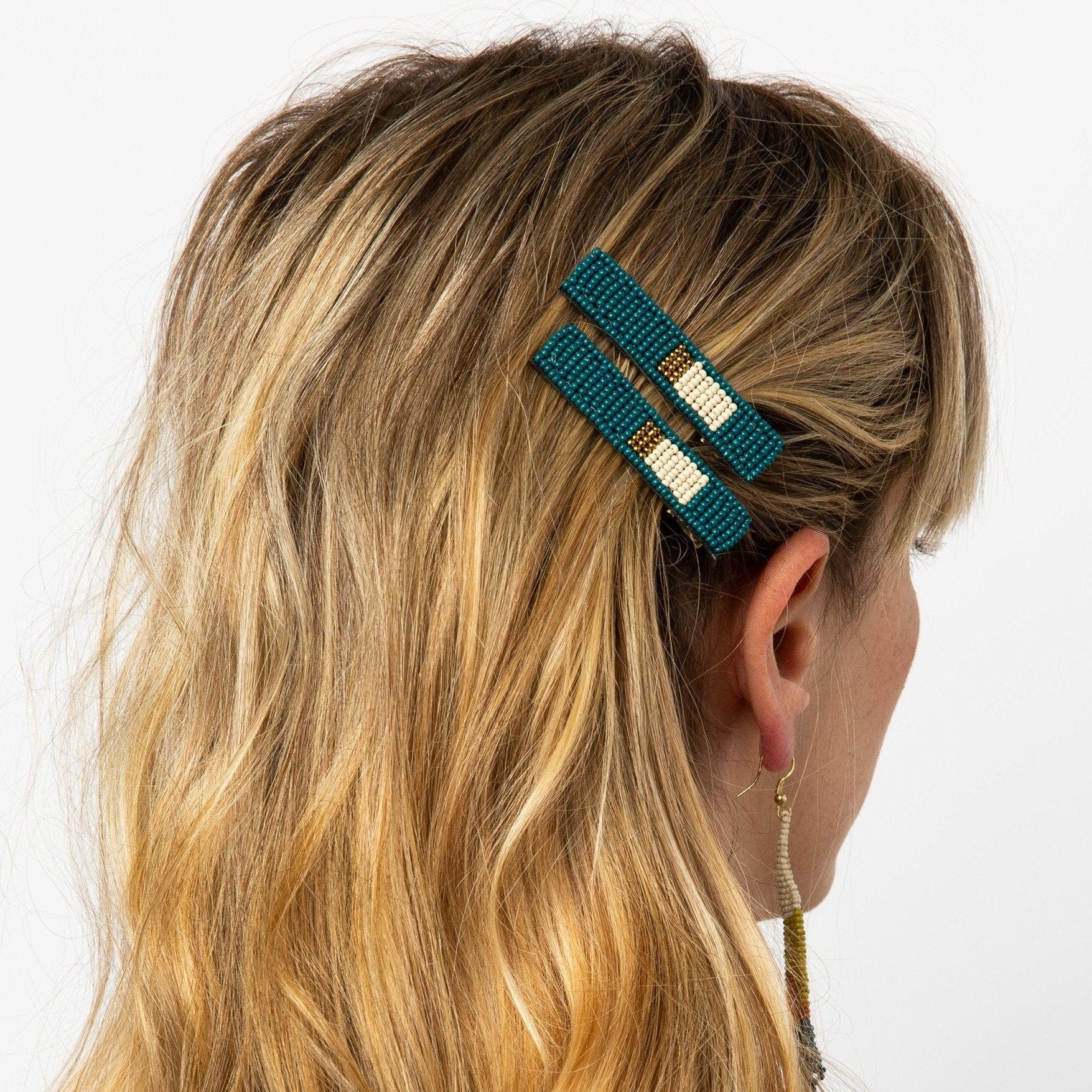 Peacock Ivory Gold Hair Clip