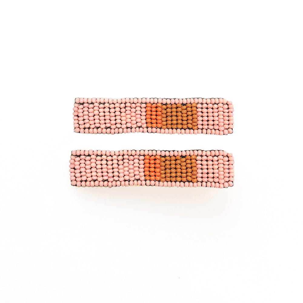 "pink coral and rust beaded hair clip 2.25""- 2 pack"