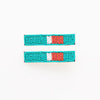 "turquoise and red beaded hair clip 2.25""- 2 pack"