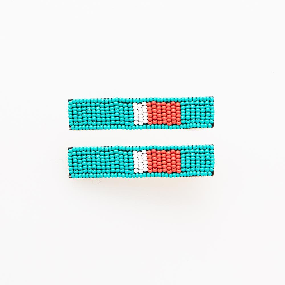 Turquoise + Red Beaded Hair Clip - 2 pack