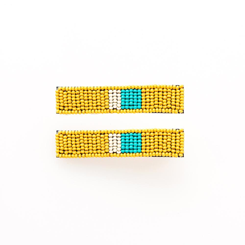 Yellow Turquoise Ivory Beaded Hair Clip - 2 pack