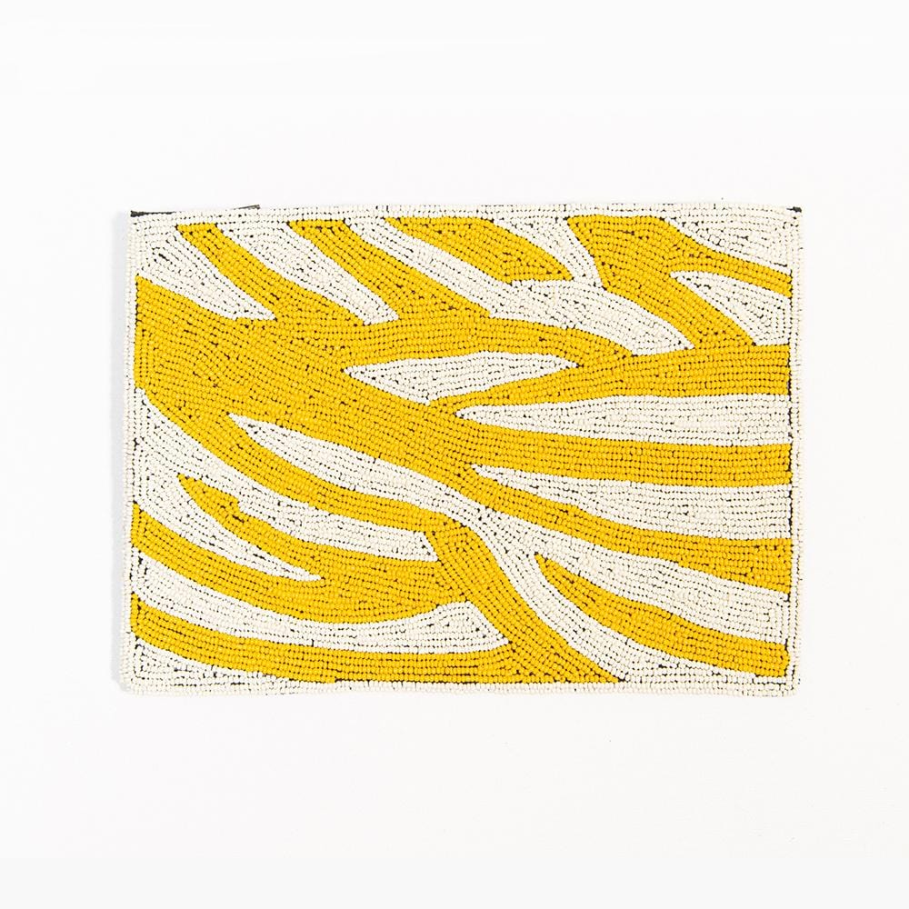 "yellow zebra beaded clutch 9"" x 6"""