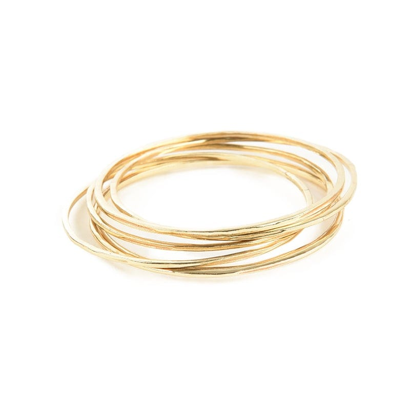 Set of 6 simple brass bangles