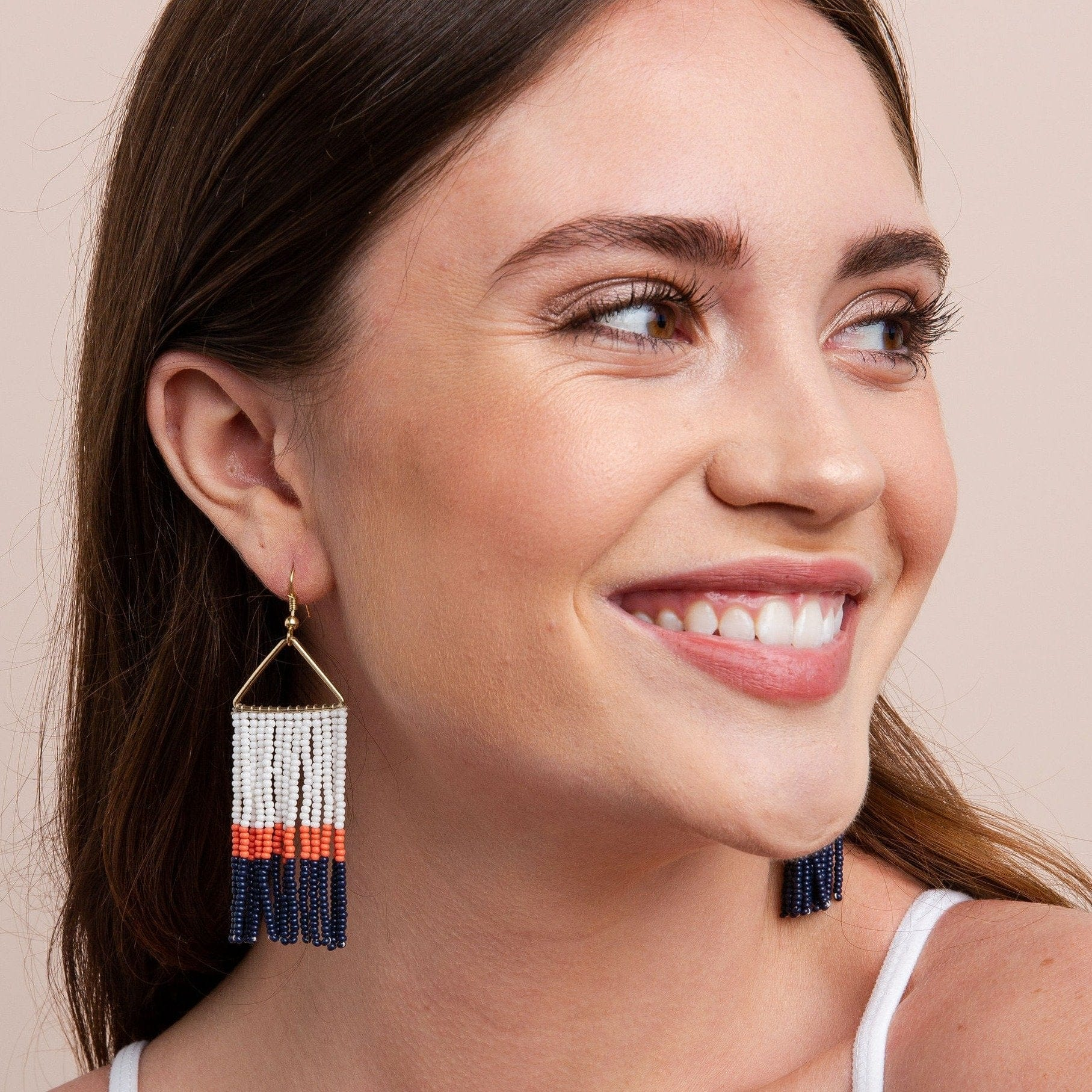Navy Coral White Color Block Fringe On Triangle Earring
