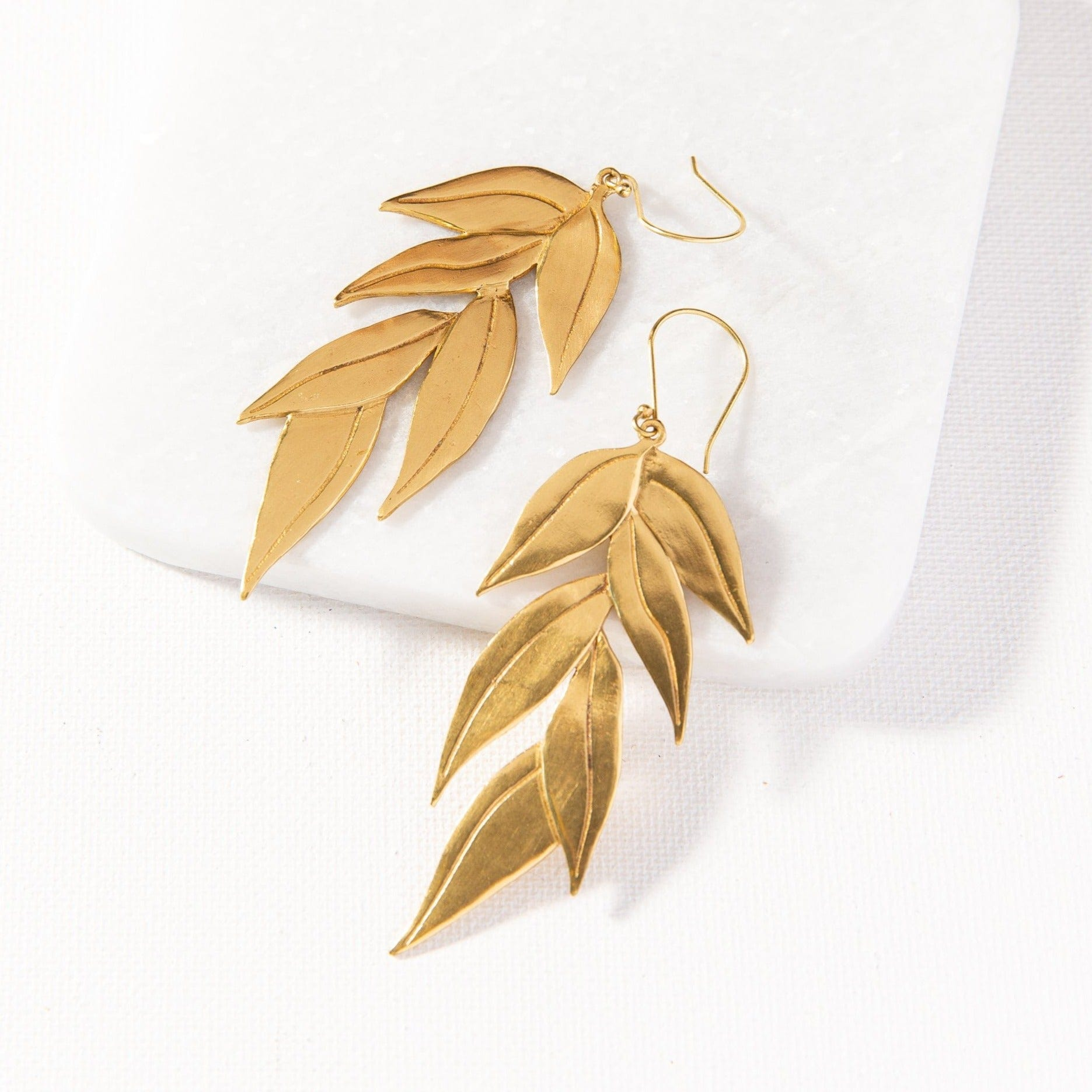 brass eucalyptus dangle earrings