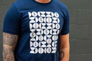Men's Navy Blue Tee with White Twin Sails Pattern