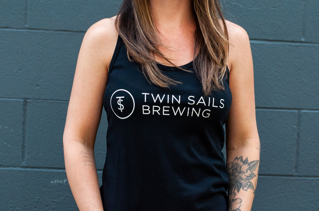 Women's Black Tank with White TS Logo