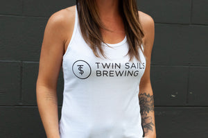 Women's White Tank with Black TS Logo