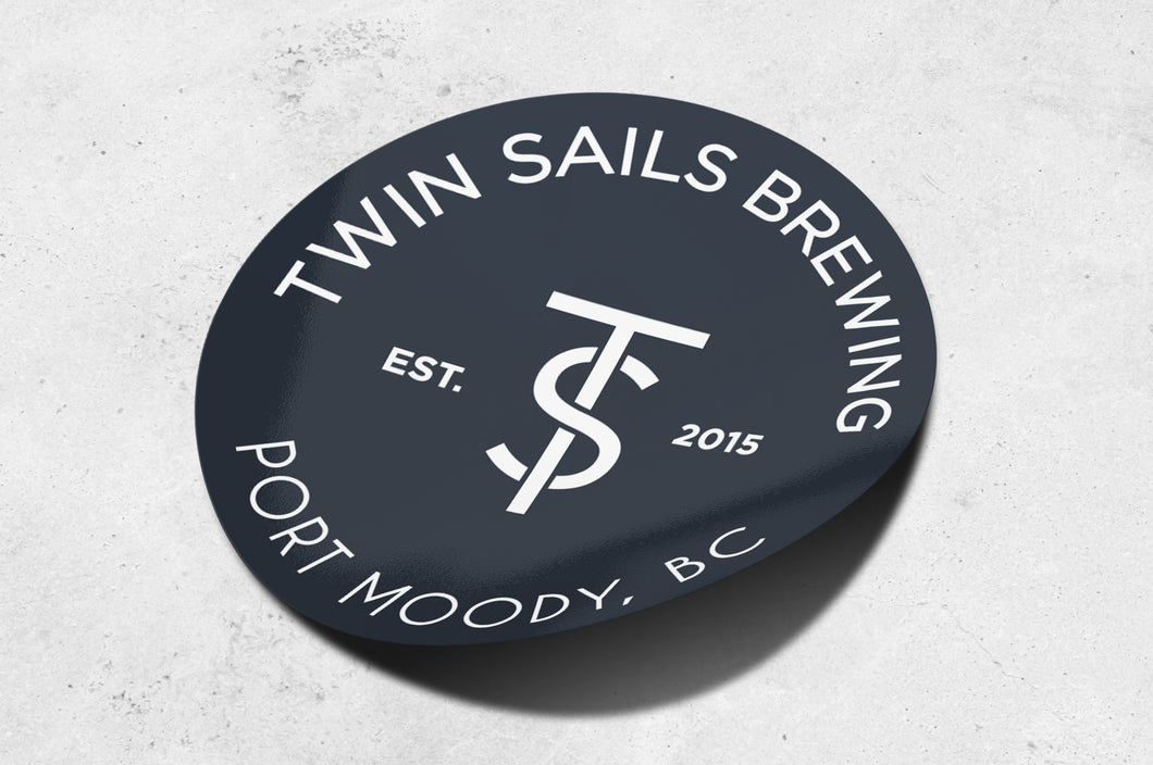 Navy Blue Twin Sails Sticker