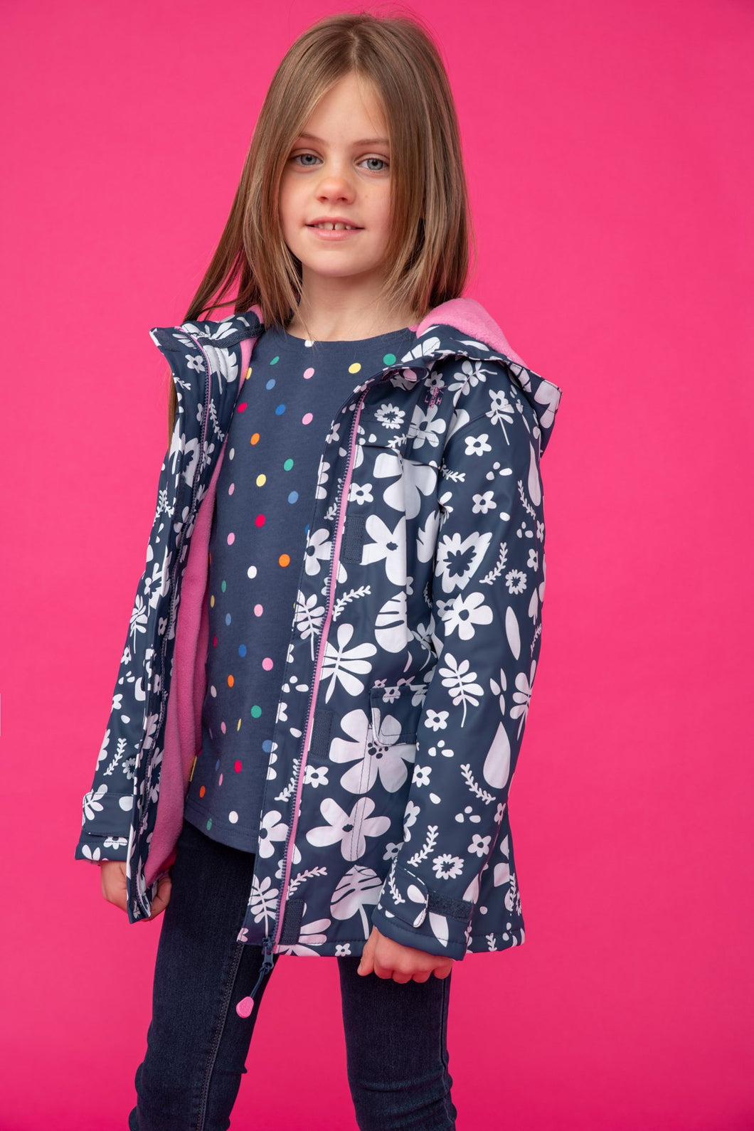 Amy Girls Coat Blue Floral