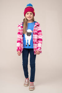 Amy Girls Coat Pink Stripe