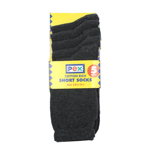 Charcoal Award 5pk Short Socks