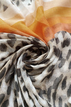 Load image into Gallery viewer, Leopard Print Colour Block Scarf - Orange