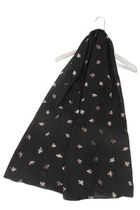 Bee Print Scarf - Rose Gold & Black