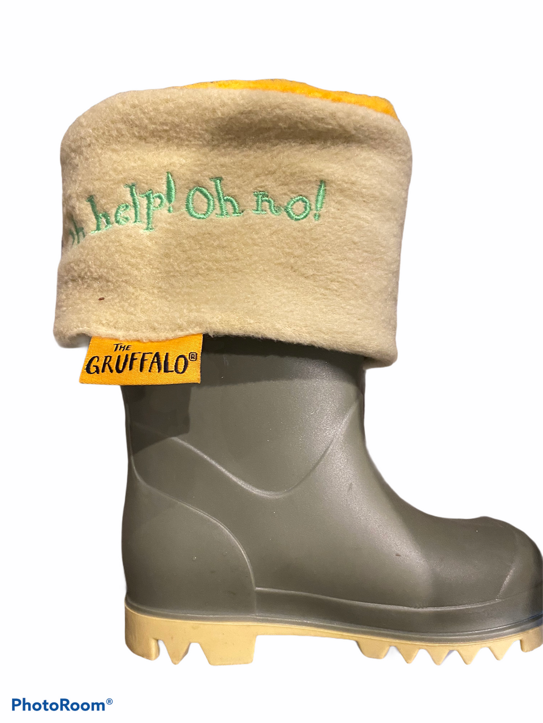 Green size infant 3 wellington with Gruffalo welly liner