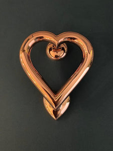 Brass Heart Door Knocker - Rose Gold Finish