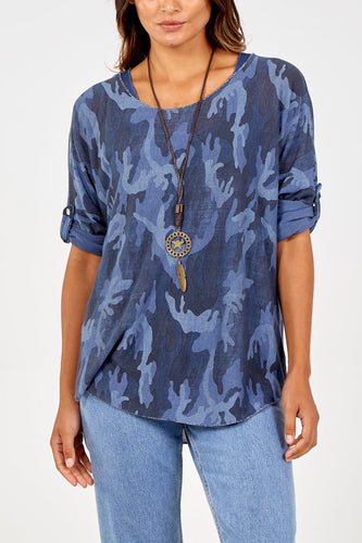 Jane Camouflage Top with necklace