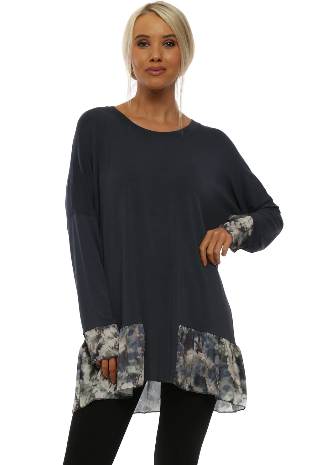 Wanda Print Crepe Frill and Cuff Top
