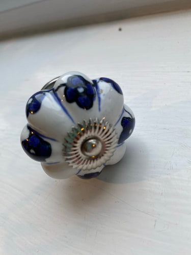Floral Blue and White Knobs