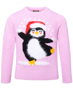 Children's Christmas jumper penguin! Pink