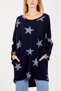 Emma Star Print Top with pockets