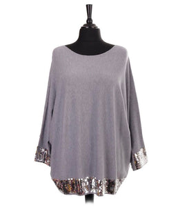Batwing jumper with sequin detail