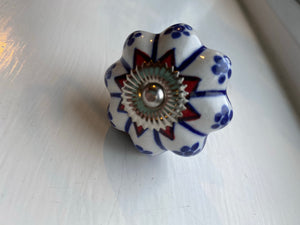 Vintage Style Blue and Red Floral Knobs