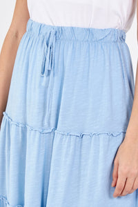 MIDI Tiered Skirt - Sky Blue