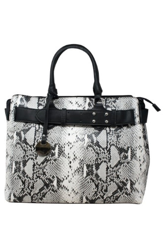 Snake print Tote with studded belt detail