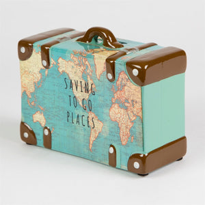 Saving to go places vintage moneybox