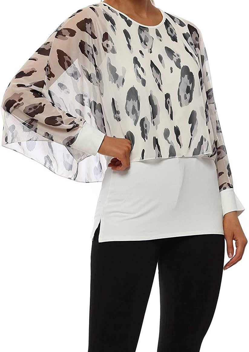 Amelia Print Chiffon Layer Top