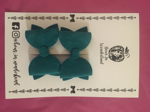 Jade Green Velour Pigtail Bows