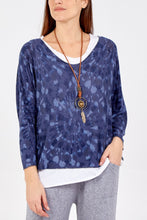 Load image into Gallery viewer, Ellery Tie Dye two layer top with necklace - Blue