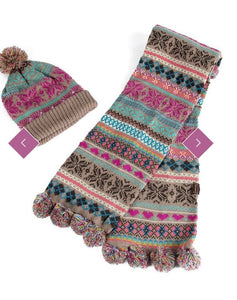 Fair Isle Bobble Hat and Scarf Set