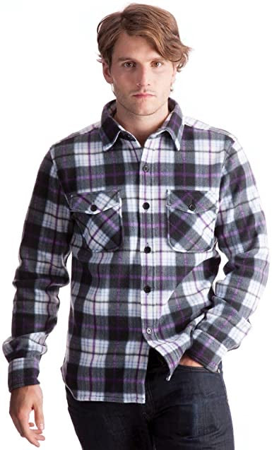 Printed Checked Fleece Shirt Purple Size L