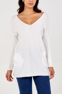 Mia V Neck jumper with pockets