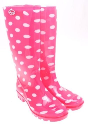 Size 8 - Briers Pink Spotted Wellingtons