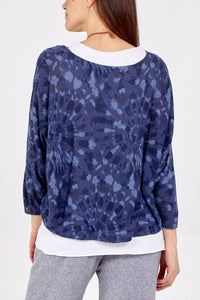 Ellery Tie Dye two layer top with necklace - Blue