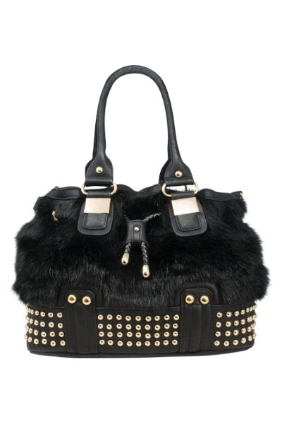 Faux Fur Studded Winter bag