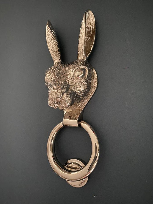 Brass Hare Door Knocker - Nickel Finish