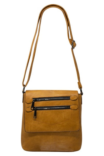 Double zipped flap crossbody Bag
