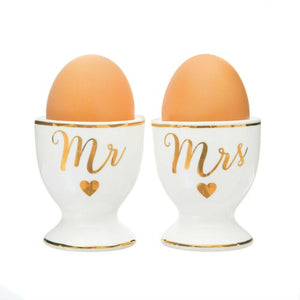 Gold mr and Mrs egg cups